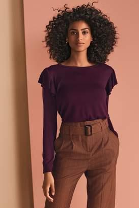 Next Womens Plum Ruffle Sleeve Jumper - Purple