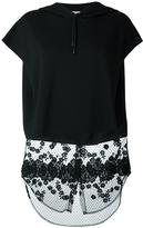 Giamba lace detailing shortsleeved hoodie - women - Cotton - 42