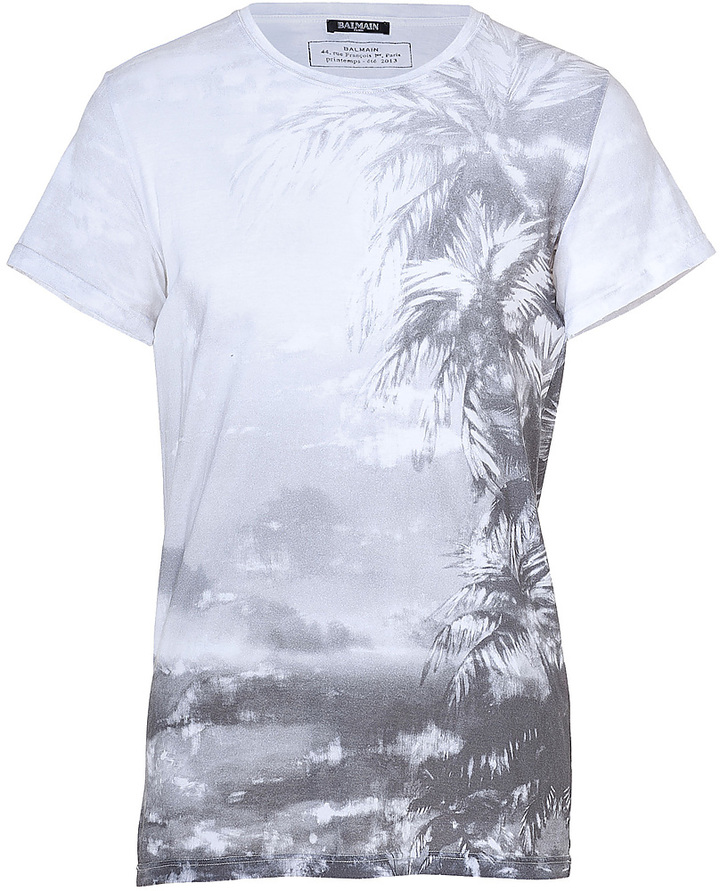 Balmain White Printed Cotton T-Shirt