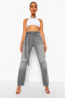 boohoo Mid Rise Busted Knee Boyfriend Jean With Belt