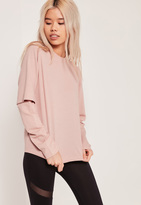 Missguided Double Layered Sleeve Sweatshirt Pink