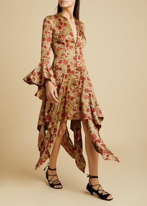 KHAITE The Laura Dress in Red Floral