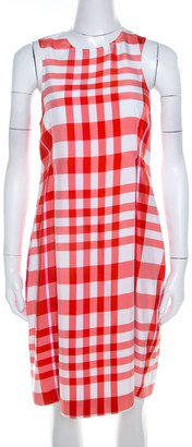 Stella McCartney Chilli Red Checked Sleeveless Benedicte Shift Dress S