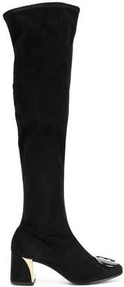 Fabi plaque detail knee-high boots