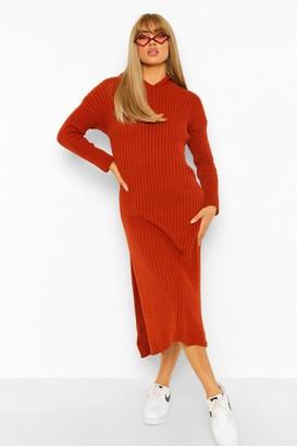 boohoo Hooded Rib Knit Midi Dress