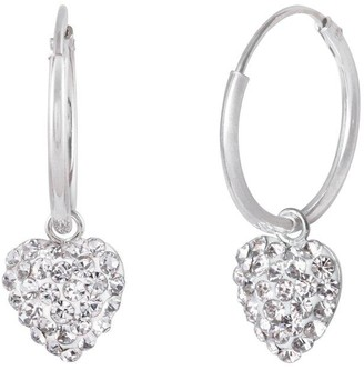 The Love Silver Collection Sterling Silver 12mm Hinged Hoops With Crystal Pave Heart Charm