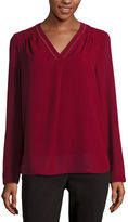 Liz Claiborne Long-Sleeve Embroidered Blouse