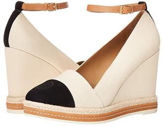 Tory Burch Color Block 105 mm Ankle (Cream/Perfect Black/Desert Camel) Women's Shoes