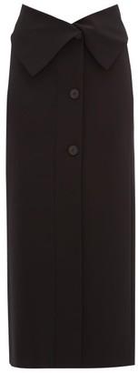 The Row Folded-waist Stretch-jersey Midi Skirt - Black