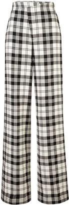 Monse Plaid Crooked Wide-Leg Trousers