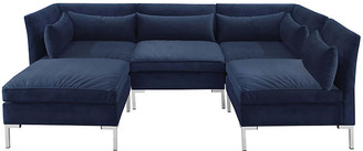 One Kings Lane Marceau U-Shaped Sectional - Silver/Navy Velvet
