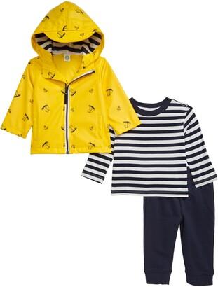 Little Me Sailboat Rain Jacket, T-Shirt & Joggers Set