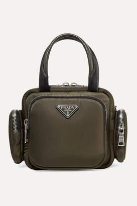 Prada Leather-trimmed Shell Tote - Army green