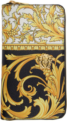 Versace Black and Yellow Barocco Long Zip Wallet
