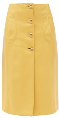 Prada Buttoned Leather Midi Skirt - Yellow