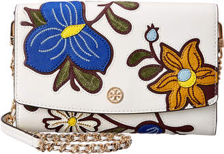 Tory Burch Robinson Floral Applique Leather Chain Wallet