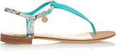 Emilio Pucci Printed canvas and patent-leather sandals