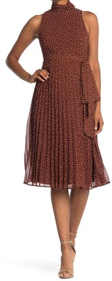 Taylor Chiffon Dot Mock Neck Dress