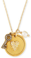 Sequin Heart & Key Talisman Pendant Necklace