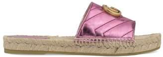 Gucci Pilar Metallic Leather Espadrille Sandals