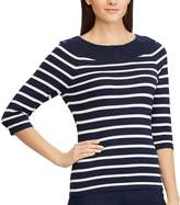 Chaps Women's Striped Lace-Trim Sweater