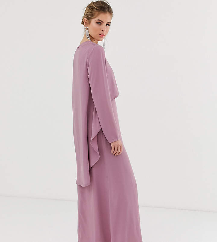 Verona long sleeved layered dress in dusty rose