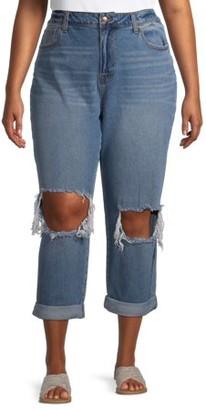 No Boundaries Juniors' Plus Size High-Rise Destructed Mom Jeans