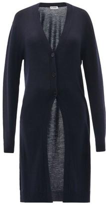 Jil Sander V-neck Wool Longline Cardigan - Navy