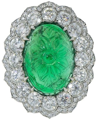 Bayco Platinum Carved Emerald And Diamond Ring