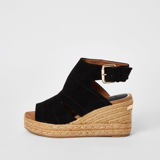 River Island Womens Black Espadrille Wedge Sandals