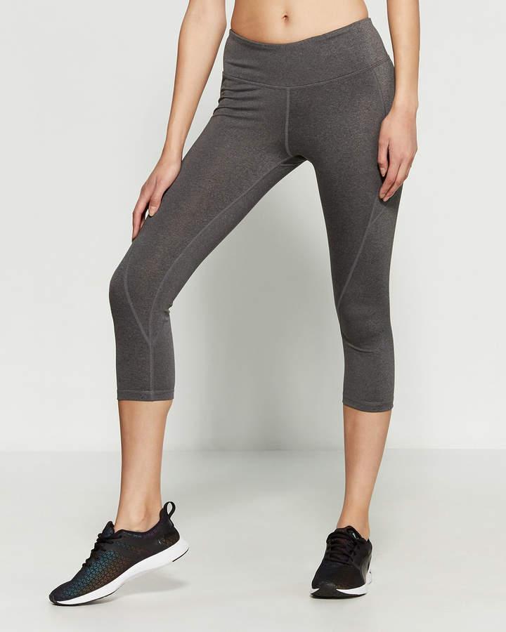 Reebok Charcoal Heather Quick Seamed Skinny Capri Pants