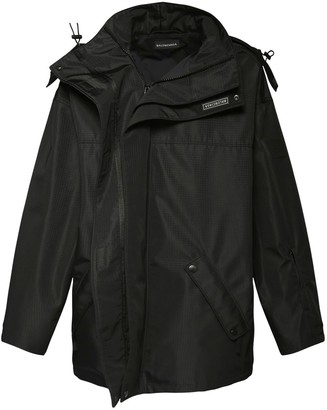 Balenciaga Logo Patch Nylon Parka Coat