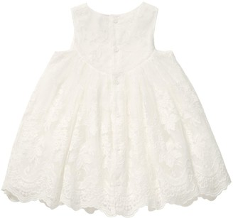 Mamas and Papas Baby Girls Embroidered Scallop Hem Dress - Off White