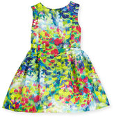 Helena Sleeveless Floral Linen Dress, Multicolor, Size 7-14