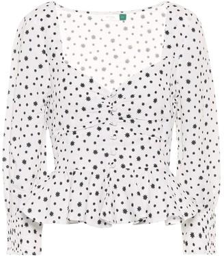 Rixo Sameera printed linen-blend top
