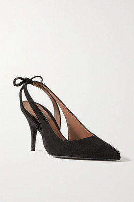 Tabitha Simmons Erika Bow-embellished Suede Slingback Pumps - Black