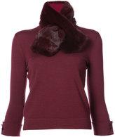 Carolina Herrera fur scarf detail top