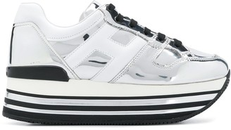 Hogan Metallic Leather Sneakers
