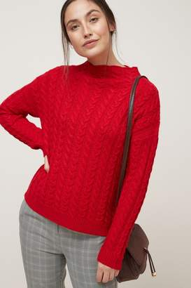 Next Womens Red Cable Funnel Neck Jumper - Red