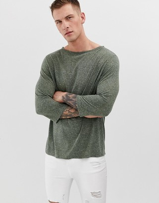 Asos Design DESIGN relaxed t-shirt with 3/4 sleeve and boat neck in linen mix-Green