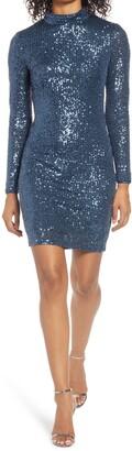 Eliza J Sequin Mock Neck Long Sleeve Cocktail Dress