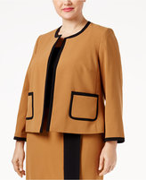 Nine West Plus Size Crepe Open-Front Framed Jacket