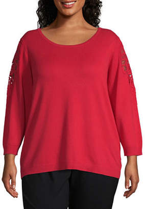 Worthington Womens Long Sleeve Lace Shoulder Sweater - Plus