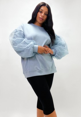 Missguided Plus Size Blue Mesh Sleeve Sweatshirt