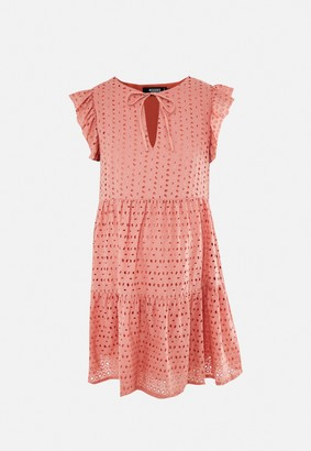 Missguided Coral Broderie Maternity Smock Dress