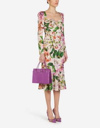 Dolce & Gabbana Longuette Bustier Dress In Charmeuse With Pink Floral Print