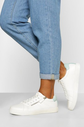 boohoo Wide Fit Zip Side Basic Lace Up Trainers