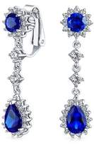 Bling Jewelry Simulated Sapphire Cz Bridal Earrings Clip On Rhodium Plated Brass.