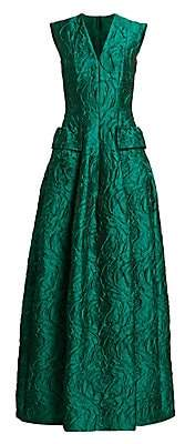 Talbot Runhof Women's Sleeveless V-Neck Jacquard Gown
