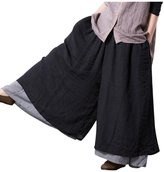 Minibee Women's Double Layer Wide Leg Elastic Pants